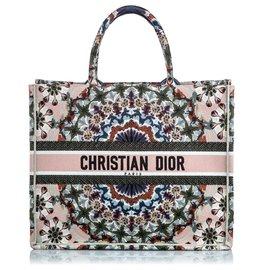 Dior-Sac cabas brodé marron Dior-Marron,Multicolore,Beige