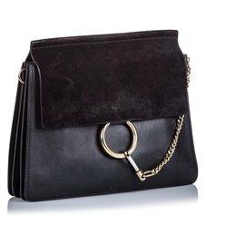 Chloé-Chloe Black Leather Faye Shoulder Bag-Black