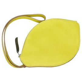 Hermès-Hermes Yellow Chevre Mysore Citron Clutch Bag-Yellow