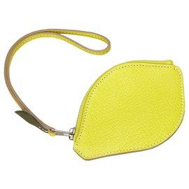 Hermès-Hermes Yellow Chevre Mysore Citron Pochette-Jaune