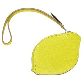 Hermès-Hermes Yellow Chevre Mysore Citron Pochette-Yellow