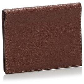 Hermès-Housse de passeport Hermes en cuir marron-Marron