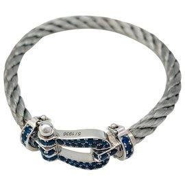 """inconnue-Bracelet Fred, """"Force 10"""", en or blanc, saphirs et acier.-Autre"""