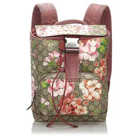 Gucci-Gucci Brown Small GG Blooms Backpack-Brown,Multiple colors,Beige