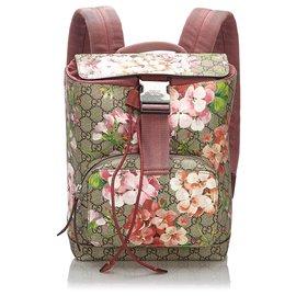 Gucci-Sac à dos Gucci Marron Small GG Blooms-Marron,Multicolore,Beige