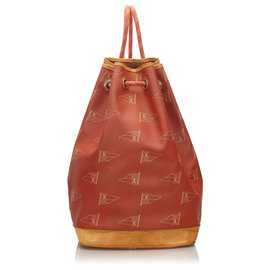 Louis Vuitton-Louis Vuitton Red 1995 LV Cup St. Tropez Drawstring Backpack-Brown,Red