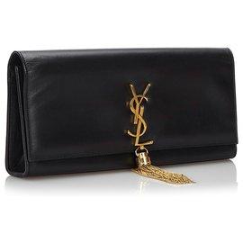 Yves Saint Laurent-Pochette Kate à pompon noir et monogramme YSL-Noir
