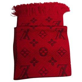 Louis Vuitton-LOUIS VUITTON ECHAREPE SCARF LOGOMANIA ROUGE-Rouge