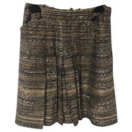Chanel-Skirt suit-Brown,Golden