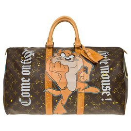 "Louis Vuitton-Sac Louis Vuitton Keepall 45 en toile Monogram customisé ""Mickey Vs Taz"" by PatBo !-Marron"
