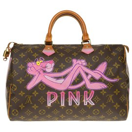 "Louis Vuitton-Speedy handbag 35 in custom Monogram canvas ""Panther III"" by PatBo-Brown"