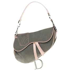 Christian Dior-Dior Saddle bag in blue denim and pink patent leather in very good condition!-Pink,Blue