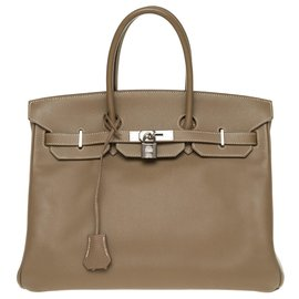 Hermès-HERMES BIRKIN 35 leather epsom color tow, silver hardware palladium, In very good shape !-Grey
