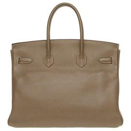 Hermès-Hermès Birkin 35 en cuir epsom couleur étoupe, accastillage argenté palladié, en très bon état !-Gris