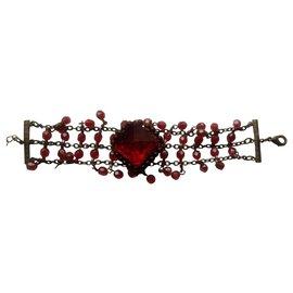 Autre Marque-Bracelet de conditionnement vintage avec de belles pierres rouge rubis-Bordeaux