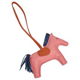 Hermès-Hermes Pink Grigri Rodeo Bag Charm-Rose,Bleu