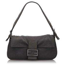Fendi-Fendi Gray Cotton Mamma Baguette Shoulder Bag-Other,Grey