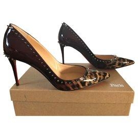 Christian Louboutin-Anjalina 85-Golden,Dark red,Leopard print