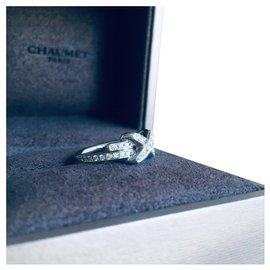 """Chaumet-Superbe bague CHAUMET modèle """"Jeux de liens"""" Pavée diamants , Neuve-Blanc"""