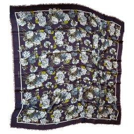 Gucci-Châle à motif floral-Bleu