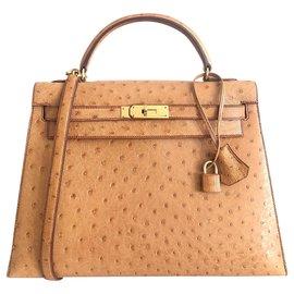 Hermès-Hermes Kelly 32 Autruche Gold-Marron clair