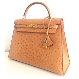 Hermès-hermes kelly 32 Gold Ostrich-Light brown