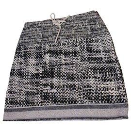 Chanel-Chanel tweed skirt 42-Black,White