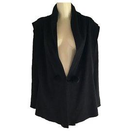 Issey Miyake-Issey Miyake Raw Edges Asymmetrical Blazer Jacket-Black