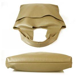 Jil Sander-Jil Sander Taupe Pebbled Leather Open Top Shoulder Bag Hobo Handbag-Grey