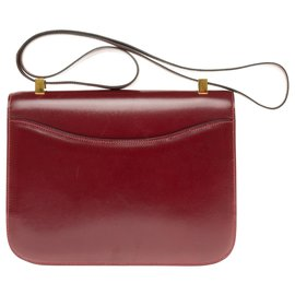 Hermès-Hermes Constance 23 burgundy Box leather, gold-plated metal trim in excellent condition!-Dark red