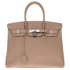 Hermès-HERMES BIRKIN BAG 35 etoupe color Togo leather, Palladie silver metal trim,  In very good condition!-Grey