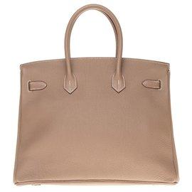 Hermès-Sac Hermès Birkin 35 en cuir Togo couleur étoupe, garniture en métal argent palladié,  en très bon état général!-Gris