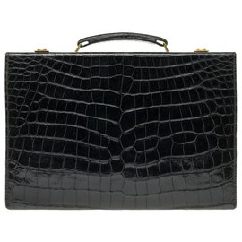 Hermès-Vintage Hermès jet case / case in black Crocodile!-Black