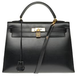 Hermès-Hermès Kelly 32 sellier bandoulière en cuir box noir, garniture en métal plaqué or en superbe état !-Noir
