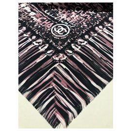Chanel-CHANEL pure silk shawl-Multiple colors