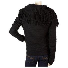 Christian Dior-Christian Dior Black Fringe collar Wool Alpaga Knit Cardigan Jacket US4 IT40 GB8-Black