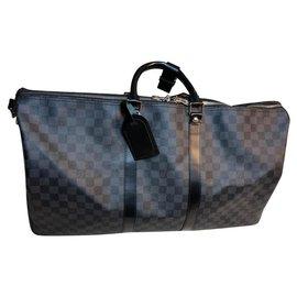 Louis Vuitton-Sac de voyage Louis Vuitton Keepall Bandoulière 55-Gris