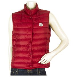 Moncler-Moncler Liane Dark red Down Feather Vest Light Sleeveless Jacket size 2-Red