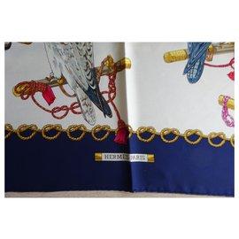 Hermès-Foulards de soie-Bleu Marine