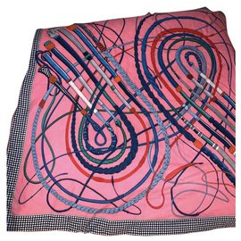 Hermès-Châle cachemire Hermès 140 neuf-Rose,Bleu