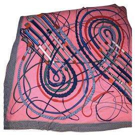 Hermès-Hermès cashmere shawl 140 neuf-Pink,Blue