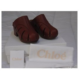 Chloé-Sandals-Dark red