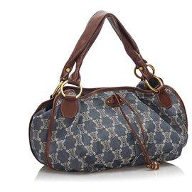 Céline-Celine Blue Denim Shoulder Bag-Brown,Blue,Other