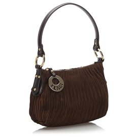 Fendi-Fendi Brown Suede Shoulder Bag-Brown,Dark brown