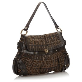 Fendi-Fendi Brown Zucca Pleated Canvas Flap Shoulder Bag-Brown