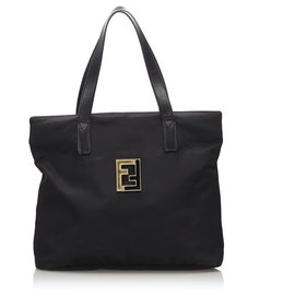 Fendi-Fendi Black Nylon Tote Bag-Black