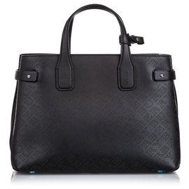 Burberry-Burberry Black Medium Perforated Leather Banner Tote-Black