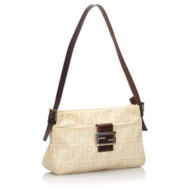 Fendi-Fendi White Zucca Canvas Shoulder Bag-White,Cream