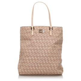 Fendi-Fendi Brown Zucchino Canvas Tote Bag-Brown,Beige