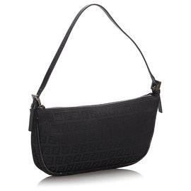 Fendi-Fendi Black Zucchino Canvas Baguette-Black